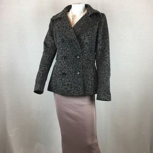 MODA international Gray/black Cheetah Print Coat